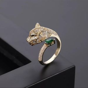 New Gold Crystal Panther Ring